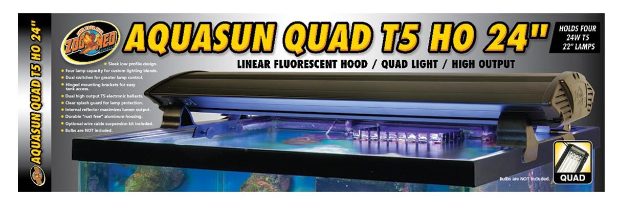 Aquasun 174 Quad T5 Ho 24 Linear Fluorescent Hood Zoo Med