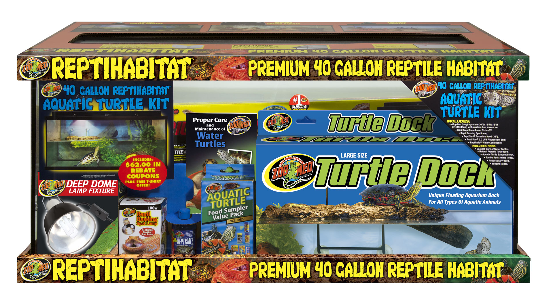 40 Gallon Reptihabitat Aquatic Turtle Kit Zoo Med