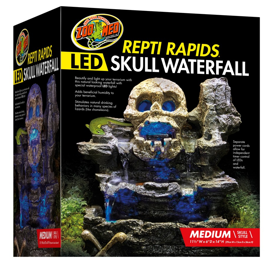 Repti Rapids 174 Led Waterfall Medium Skull Zoo Med